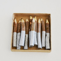 "small silver dip twig pencils - hand painted - 4"" (10 pencils)"