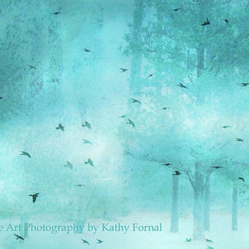 "Nature Photos - Dreamy Surreal Art Birds, Teal Aqua Turquoise Trees, Fantasy Ethereal Nature Fine Art Photograph 8"" x 12"""