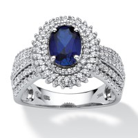 1.55-Carat Oval-Cut Lab-Created Blue Sapphire Platinum over Sterling Silver Engagement Ring