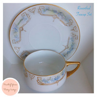 Rosenthal Donatello Hand Painted Blue Floral Tea Cup Set of 4 Vintgae China Set Antique China