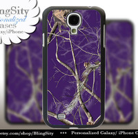 Purple Camo Monogram Galaxy S4 case S5 Real Tree Camouflage Personalized Samsung Galaxy S3 Case Note 2 3 Cover Country Girl