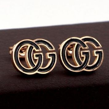 GUCCI Stylish Women Cool Black/Rose Golden Double G Earrings Accessories Jewelry