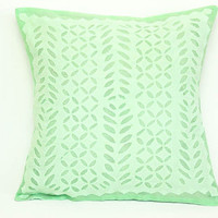 Organic Beautiful Handmade Applique / Bright Mint Green / Pillow or Cushion Cover - 16 x 16 - 07