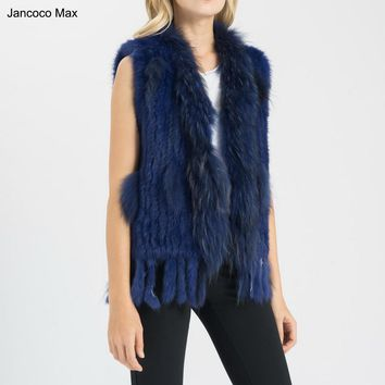 Popular 17 Colors New Real Fur Soft Vest Rabbit Fur Knitted Raccoon Dog Fur Collar Gilet Coat Winter Autumn Waistcoat E1000
