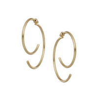 Front And Back Hoop Earrings - Gold