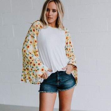 Sunflower Bell Sleeve Baseball Tee - White/White