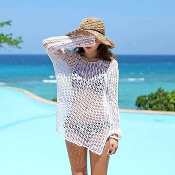 PEAPGC3 Beach Sports Swim Beach Clothes Woman Cover Up Hollow Hedging Mesh Sunscreen Bikini Ride Sweater Cotton Thread