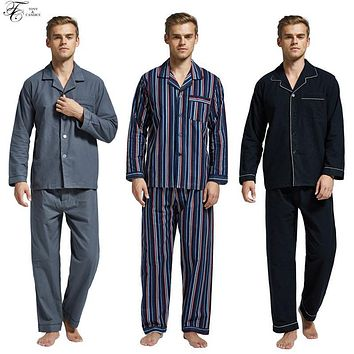 Tony&Candice Men's Pajamas Flannel Warm Pajamas Set Male Sleepwear Nightgown Long Sleeve Casual Pyjamas Home Clothing Autumn