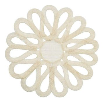 Looped Sinamay Placemat - S/2 Ivory