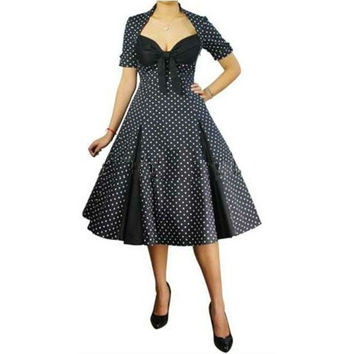 free shipping R1024 Rockabilly Pin Up Swing 40s 50s Retro Polka Dot Black White Vintage Dress New size 8-24