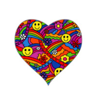 Smiley Face Rainbow and Flower Hippy Pattern Heart Stickers