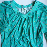 80s Teal Triangle Pattern Shirt with Tag size 40 by OakandHickory