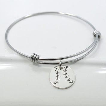 Baseball Softball Adjustable Bangle Bracelet Stacking Charm Bracelet