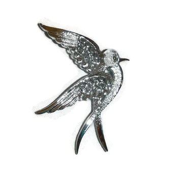 Vintage Silver Dove Bird Brooch Pin, Bird in Flight 1970's Sarah Coventry Signed, Love Bird Swallow Animal Figural Vintage Bridal Jewelry