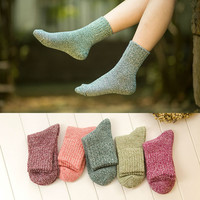 New Fashion Korean Cute Solid Wool Socks Winter Women's  Kawaii Pink Purple Warm Socks Sweet Candy Color Thermal Thick Socks