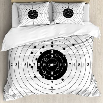 Black and White Duvet Cover Set Target Numbers and Bullet Holes Shooting Polygon Gun Training Illustration 4 Piece Bedding Set