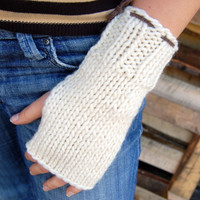Knit arm warmers, white wool fingerless gloves / wrist warmers