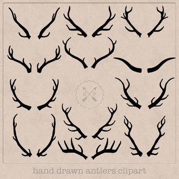 Hand Drawn Antlers Clipart (A set of 12). Black antlers for invites, wall art, logo design, invites, printables and anything else