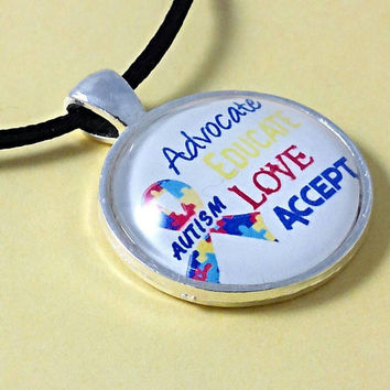 Autism necklace, advocate educate love accept autism jewelry, autism awareness jewelry, autism ribbon, puzzle necklace, autism gifts. A3