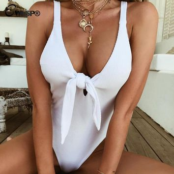 CWLSP Open Back White Ribbed Bodysuit For Women Sexy Skinny Tie-Front Backless Playsuit Summer Jumpsuits Female Short Romper