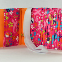 Women's Wallet  Organizer with Card Slots - 2 in 1 - Pink Breast Cancer Awareness