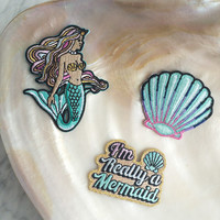 Mermaid Patch - Iron On Set of 3 Patches: Mermaid – I'm Really a Mermaid – Seashell - Embroidered Appliques