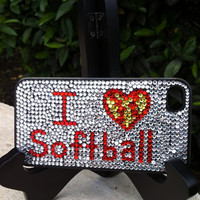 I Love Softball Rhinestone Phone Case fits iPhone 4/4S