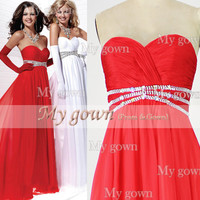 Red With Draped Beads Chiffon Prom Dress, Wedding Dress, Evening Gown,Dresses