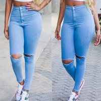 FASHION HIGH WAIST HOLE JEANS