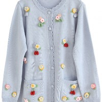 Scalloped Knitted Floral Oranate Cardigan - OASAP.com