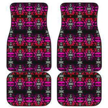 Black Fire Pink and Red Set of 4 Car Floor Mats