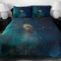 Anlye Luxury Bedding Set 2 Sides Printing Blue Out Space Quilt Duvet Covers Out Space Blue Flat Sheet with 2 Throw Pillowcases Full