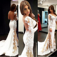 Long Sleeve White Lace Long Prom Dresses