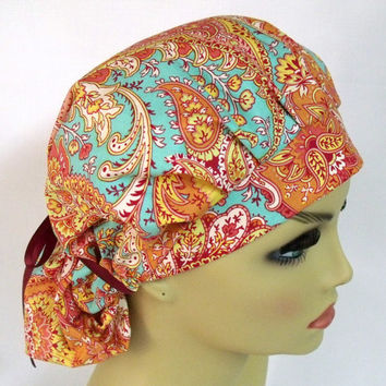 Womens Bouffant  Pleated Surgical Scrub Hat or Cap Paisley in Clay