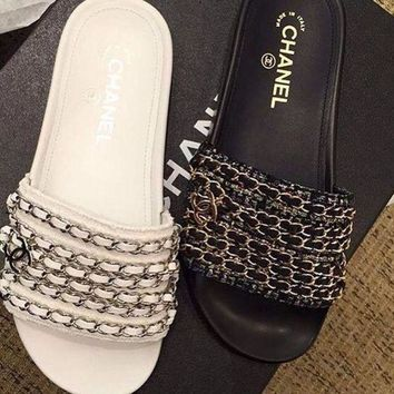 Chanel Shoes Chain Slippers Silk Satin Sandals