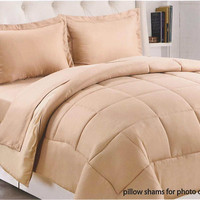 """Kate Elegance Sound Sleepers 1-Piece Full/Queen Size (86"""" x 86"""") Reversible Solid Comforter - Beige/Taupe"""