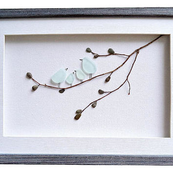 Sea glass art bird family, Sea glass family of 4 gift, Family wall art, Anniversary gift for wife, Bathroom decor, Birds nursery wall decor