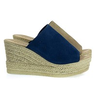 Minni01 Slip On Sandal On Plastic Imitation Espadrille Platform Wedge