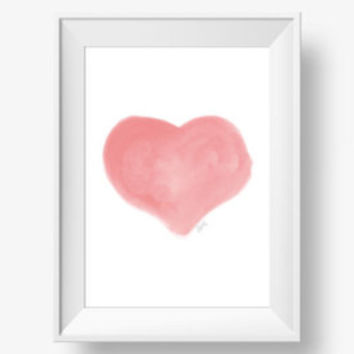 Coral Wall Decor Tree Growing Love Fine Art Watercolor Print ,  Coral Wall Art Coral Wall Decal watercolor heart - print , coral