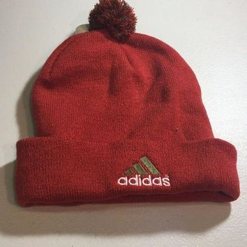 ESBONC. BRAND NEW ADIDAS ORANGE AND RED POMPOM KNIT HAT SHIPPING