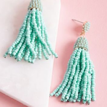 Classy Tassels Beaded Earrings in Aqua