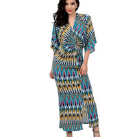1970s Style Teal & Multicolor Abstract Three-Quarter Sleeve Kimono Maxi Dress