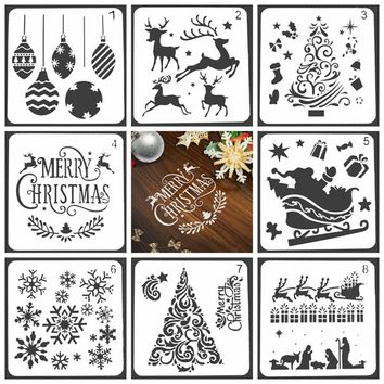 Merry Christmas Design Stencils for DIY Scrapbooking Plastic Handmade Cake Template Crafts Diary Decor Painting Spray Tool Card
