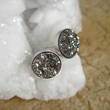 Silver Druzy Stud Earrings Drusy Quartz Rhodium Plated Sterling Silver Bezel Set