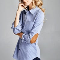 Pin Striped Classic Button Down with Suede Elbows