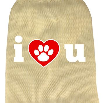 I Love You Screen Print Knit Pet Sweater Md Cream Medium
