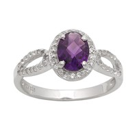Sterling Silver Amethyst & Lab-Created White Sapphire Halo Ring (Stone/White/Amethyst)