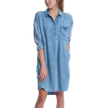 Alexa Chambray Shirt Dress - Blue