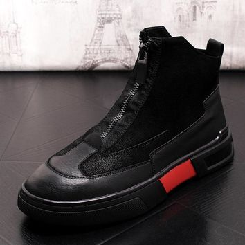 SHOES BOOTS Luxury Men Black Casual Comfort Shoe Man High Top Retro Dr. Martins style Boots Lace Up Leather Platform