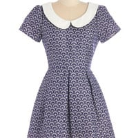ModCloth Short Length Short Sleeves A-line Waves of Winsome Dress